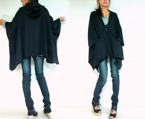 Large Women Black Hooded Cape Coat with pockets