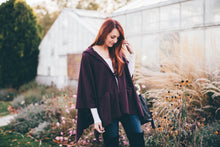 Load image into Gallery viewer, Women Hooded Cape Coat in Burgundy with Pockets