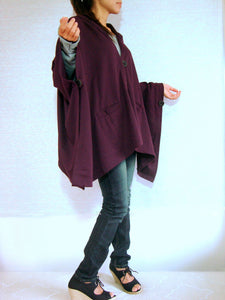 Women Hooded Cape Coat in Burgundy with Pockets