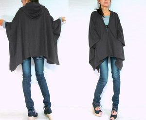 Women Gray Hooded Cape Coat with pockets
