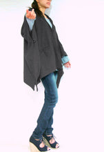 Load image into Gallery viewer, Women Gray Hooded Cape Coat