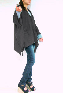 Women Gray Hooded Cape Coat