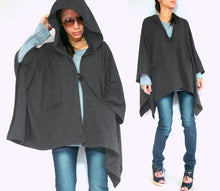Load image into Gallery viewer, Women Gray Hooded Cape Coat with pockets