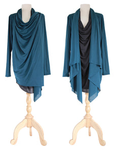 Women Deep Teal Tunic Tops Layered Long Cardigan
