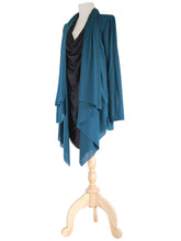 Load image into Gallery viewer, Women Deep Teal Tunic Tops Layered Long Cardigan