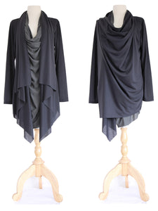 Black Asymmetrical Layered Tunic Top Long Slouchy Wrap Cardigan