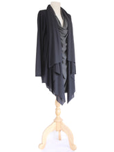 Load image into Gallery viewer, Black Asymmetrical Layered Tunic Top Long Slouchy Wrap Cardigan