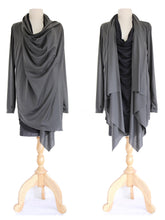 Load image into Gallery viewer, Black Charcoal Gray Women Layered Tops Tunic Cardigan