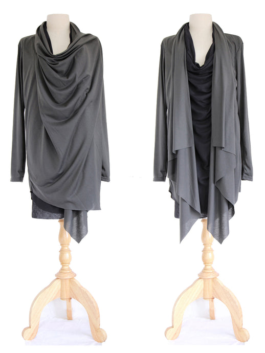Black Charcoal Gray Women Layered Tops Tunic Cardigan