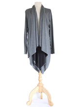 Load image into Gallery viewer, Long Wrap Cardigan Layered Tunic Top in Gray