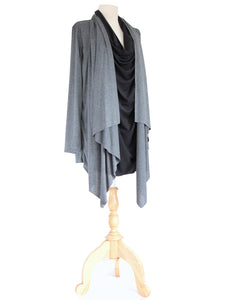 Long Wrap Cardigan Layered Tunic Top in Gray