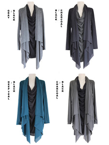 Asymmetrical Layered Tunic Top Long Slouchy Wrap Cardigan