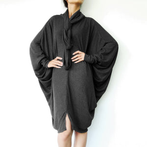 Boho Oversized Women Black Tunic Dress