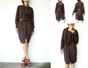Boho Oversized Extra Large Brown Tunic Dress