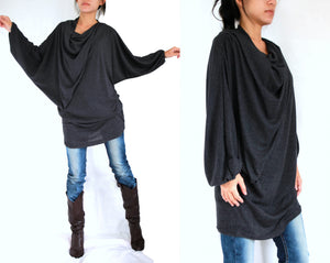 Black Tunic Mini Dress with Long Dolman Sleeves