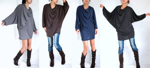 Unique Tunic Mini Dress Dolman Sleeves Tops with scarf