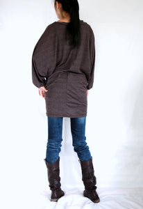 Brown Tunic Dress Oversized Long Dolman Sleeves Tops with Scarf