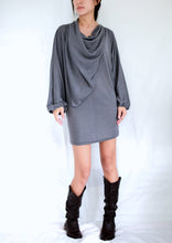 Load image into Gallery viewer, Gray Tunic Mini Dress Dolman Sleeves Tops