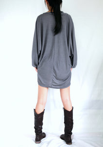 Gray Tunic Mini Dress Dolman Sleeves Tops