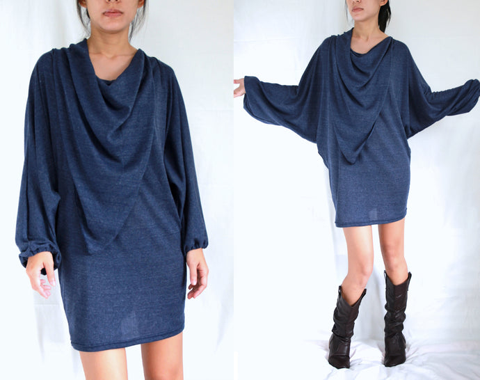 Navy Blue Dolman Sleeves Tops Tunic Dress