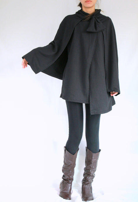 Women Black Cloak Coat Layered Cape Coat