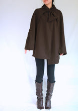 Load image into Gallery viewer, Women Coffee Brown Cloak Layered Cape Coat