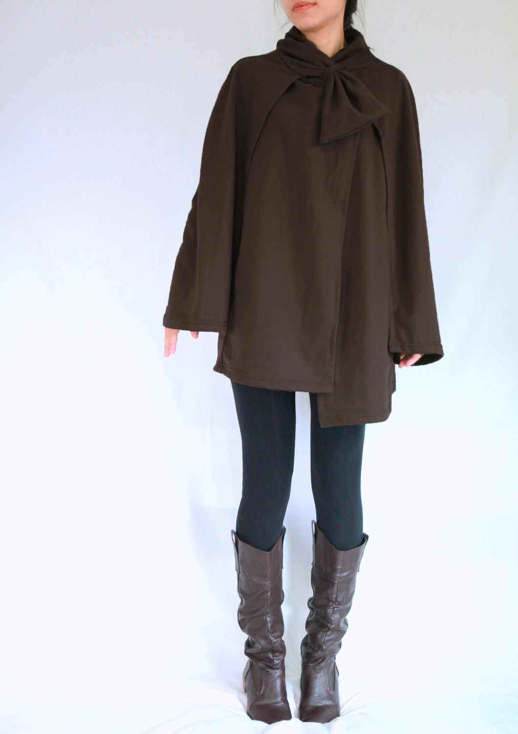 Women Coffee Brown Cloak Layered Cape Coat