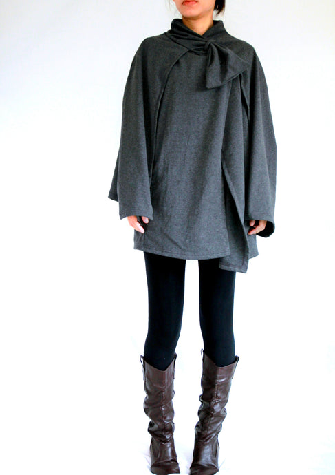 Gray Cloak Coat Layered Cape Coat with pockets