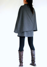 Load image into Gallery viewer, Gray Cloak Coat Layered Cape Coat with pockets