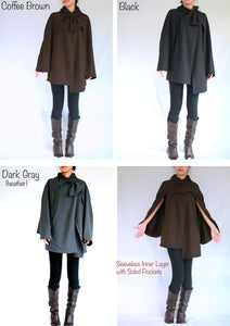 Cloak Coat Layered Cape Coat with pockets