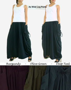 Convertible Maxi Skirt Pants in Lagenlook with Big Pockets in black burgundy deep teal olive green