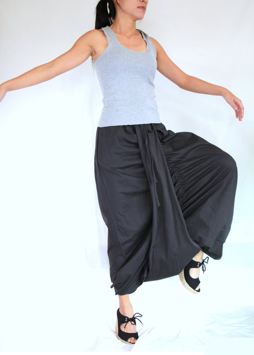 Women Gray Sarouel Pants Baggy Festival Pants