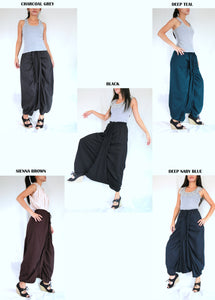 Women Sarouel Pants in black deep teal burgundy brown navy blue