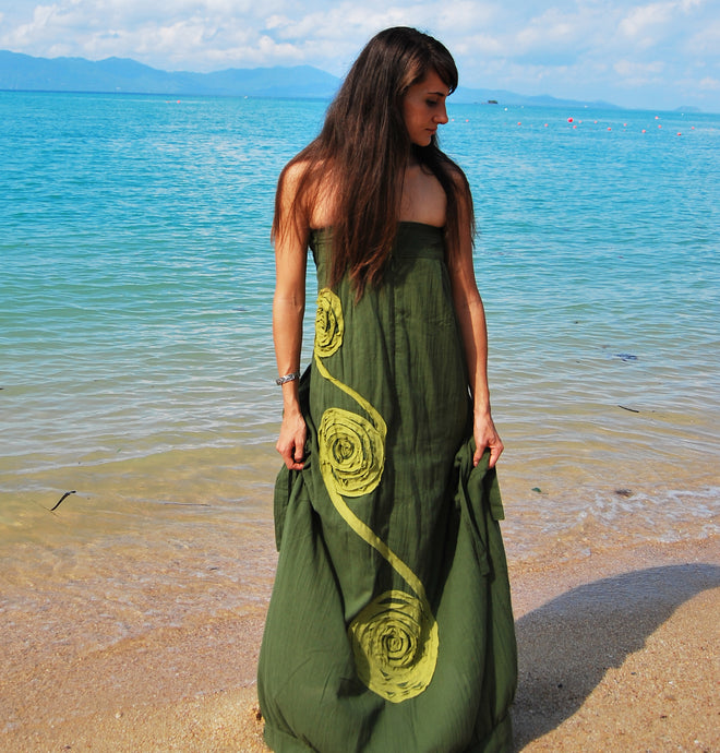 Women Cotton Bandeau Maxi Dress - Green