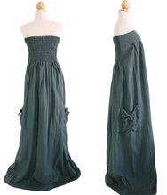 Load image into Gallery viewer, Women Dark Gray Cotton Strapless Maxi Dress
