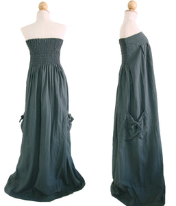 Women Dark Gray Cotton Strapless Maxi Dress