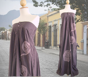 Purple Cotton Strapless Bandeau Maxi Dress