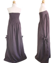 Load image into Gallery viewer, Purple Cotton Strapless Bandeau Maxi Dress