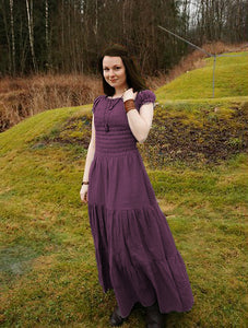 Lavender Cotton Tiered Maxi Dress Bohemian Dress