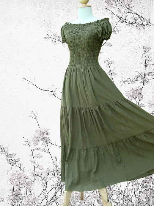 Olive Green Tiered Maxi Dress Summer Maxi Dress