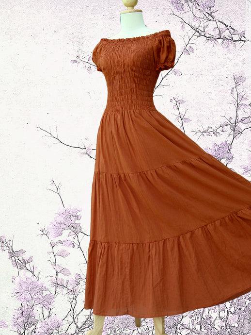 Women Burnt Orange Cotton Peasant Maxi Dress