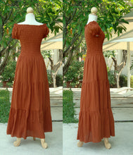 Load image into Gallery viewer, Women Burnt Orange Cotton Peasant Maxi Dress
