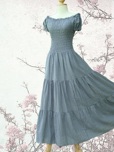 Gray Tiered Maxi Dress Off the Shoulder Maxi Dress