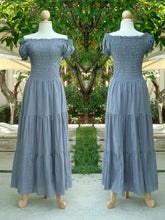 Load image into Gallery viewer,  Gray Tiered Maxi Dress Off the Shoulder Maxi Dress