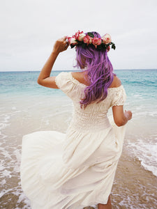 bohemian beach wedding dress - ivory off white
