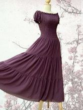 Load image into Gallery viewer, Lavender Cotton Tiered Maxi Dress
