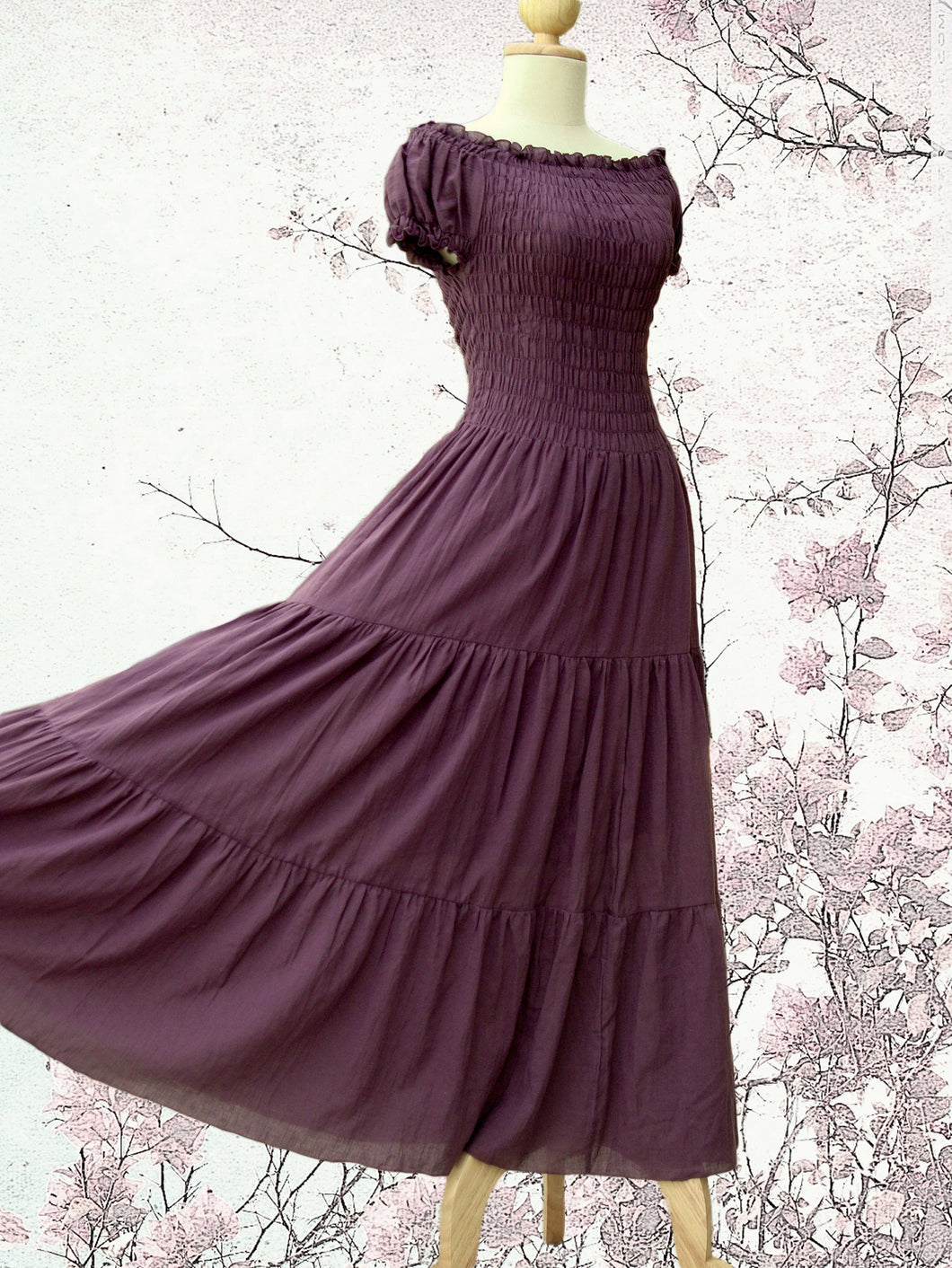 Lavender Cotton Tiered Maxi Dress