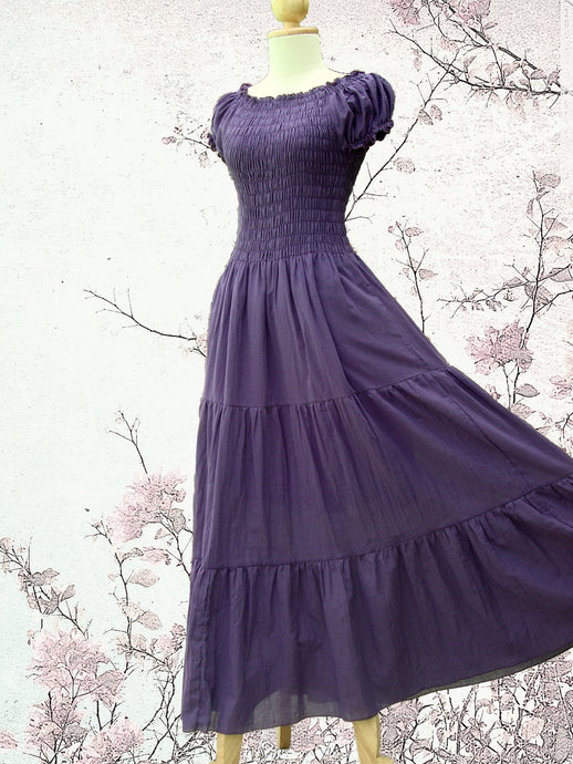 Women Cotton Tiered Maxi Dress - Purple Plum