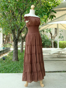 Summer Wedding Dress Bridal Beach Wedding Dress - Brown