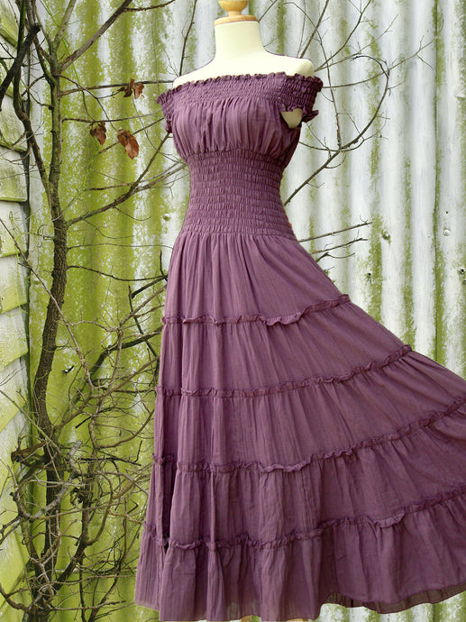 Lavender Purple Off the Shoulder Tiered Maxi Dress